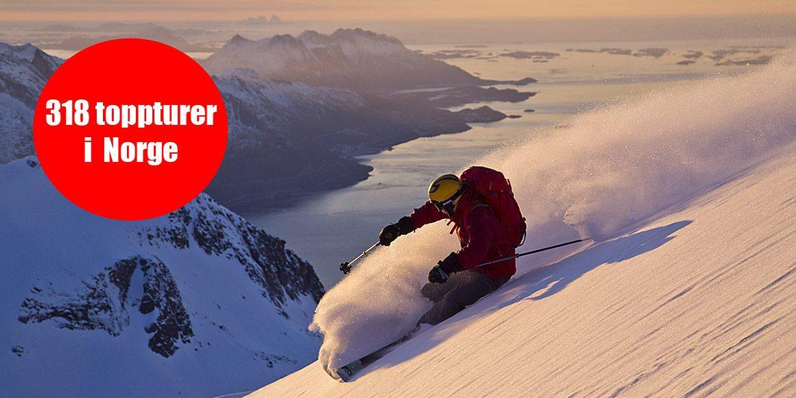 Vi har beskrivningar till 318 toppturer i Norge!